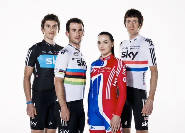 Bradley Wiggins, Geraint Thomas, Mark Cavendish and Victoria Pendleton
