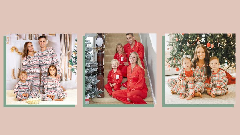 images of three families wearing matching Christmas pyjamas on a beige background
