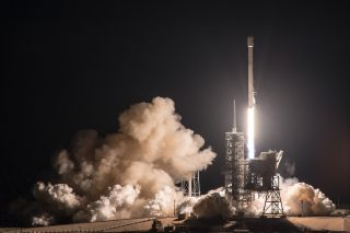 A SpaceX Falcon 9 rocket carrying the EchoStar 23 communications satellite launches from Pad 39A at NASA's Kennedy Space Center in Cape Canaveral, Florida early on March 16, 2017.