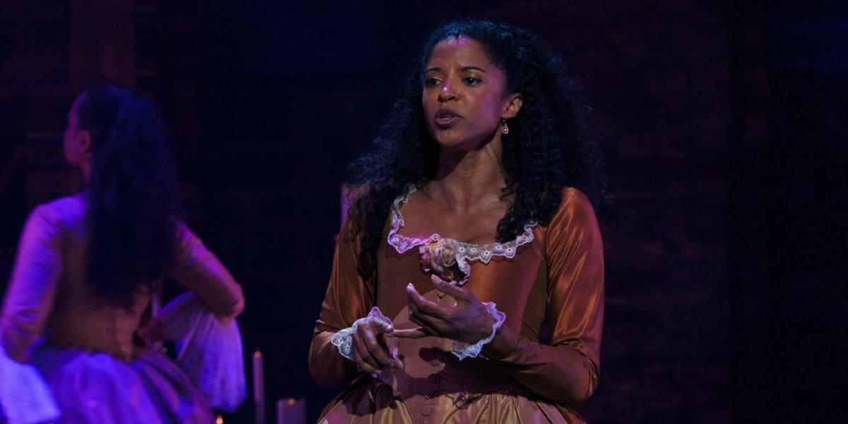 Renee Elise Goldsberry as Angelica Schuyler in Hamilton