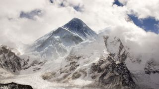 Mount Everest cloaked in clouds