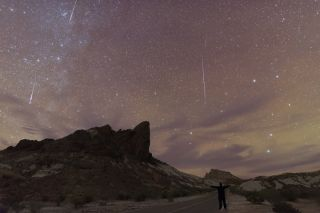 Orionid meteors streak through the starry sky over Big Bend National Park in Texas, in this composite of four shots taken by astrophotographer Sergio Garcia Rill in October 2017.
