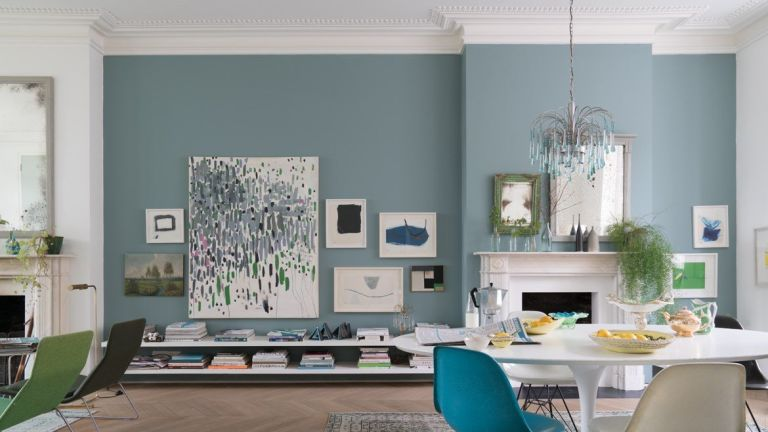 Blue dining room by Farrow & Ball