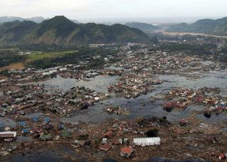 Tsunamis, like the one that stuck Aceh, Indonesia, cause serious flooding and submerge entire villages.