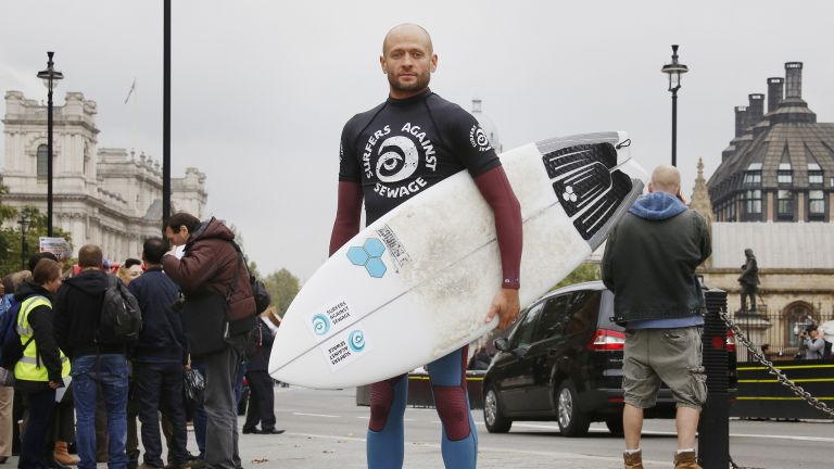 Hugo Tagholm, CEO of Surfers Against Sewage, outside Parliament