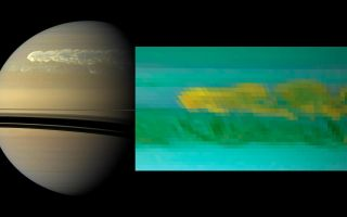 Cassini Reveals Two Images of Saturn Storm