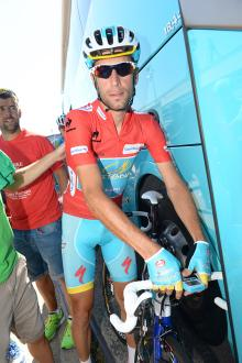 Astana's Vincenzo Nibali in the leader's jersey at the Vuelta