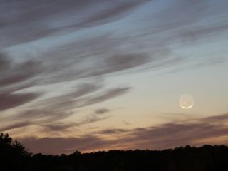 Comet Pan-STARRS and Moon Over Marshall Space Flight Center, Ala.