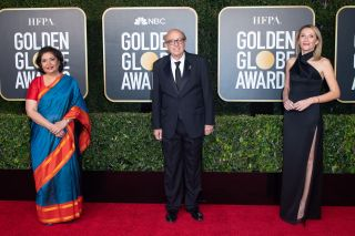 HFPA Board Member and Past President Meher Tatna, HFPA President Ali Sar and HFPA Vice President Helen Hoehne arrive at the 78th Annual Golden Globe Awards at the Beverly Hilton in Beverly Hills, CA on Sunday, Feb. 28, 2021.