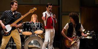 Rami Malek as Freddie Mercury and his Queen bandmates in Bohemian Rhapsody
