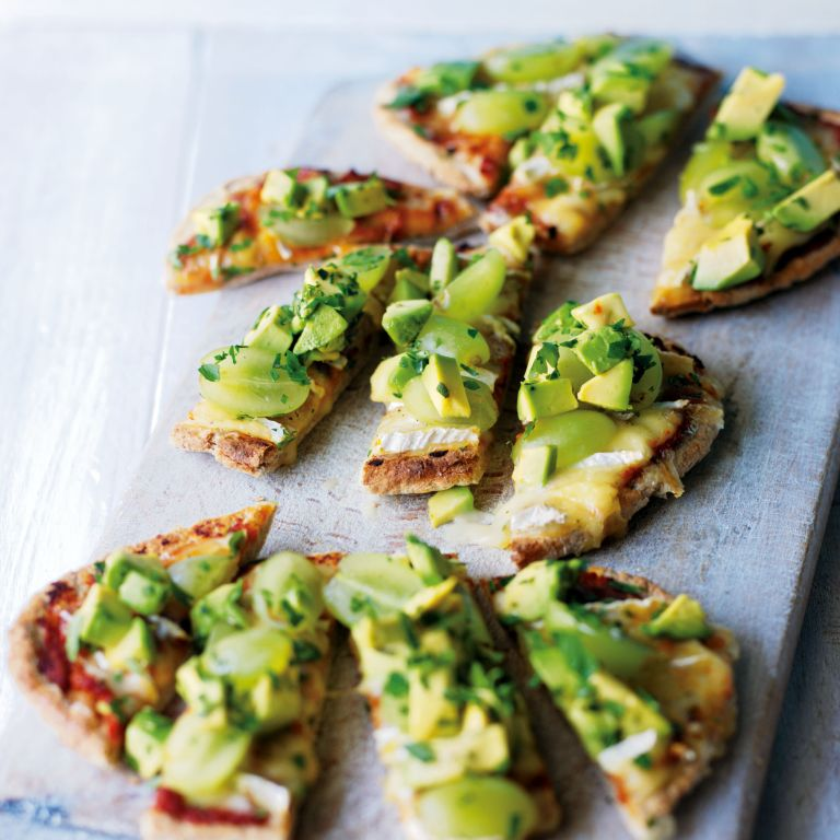 Pitta Pizzas with Melted Brie, Avocado and Green Grapes recipe-new recipes-woman and home