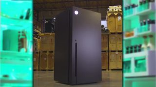 An image of an Xbox Series X-shaped refrigerator.