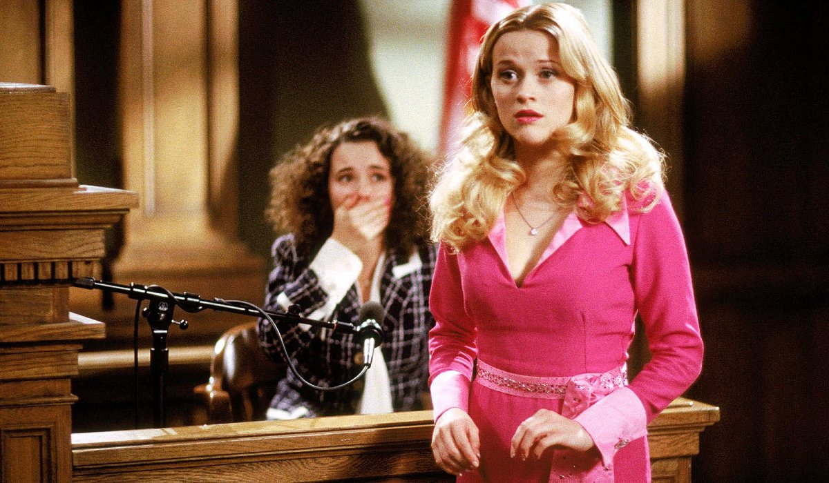 Reese Witherspoon conducts herself in court in Legally Blonde.