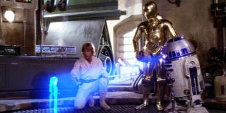 Luke watching the hologram in A New Hope