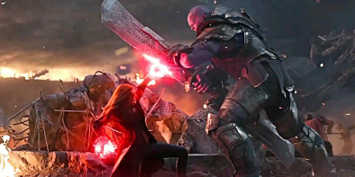 Wanda in the fight against Thanos in Avengers: Endgame.