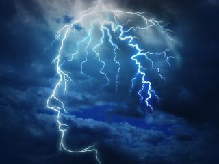An artist's image shows the outline of a storm within the human mind