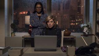 "Audra McDonald, left, as Liz Reddick-Lawrence, and Christine Baranski as Diane Lockhart in ""The Good Fight."""