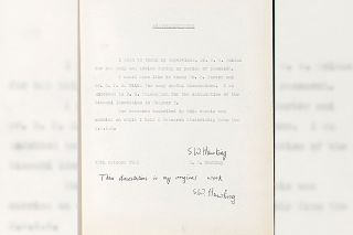 One of five known original copies of Stephen Hawking's thesis is put up for auction.