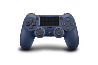 A picture of the new Sony Playstation Dualshock 4 controller in Midnight Blue