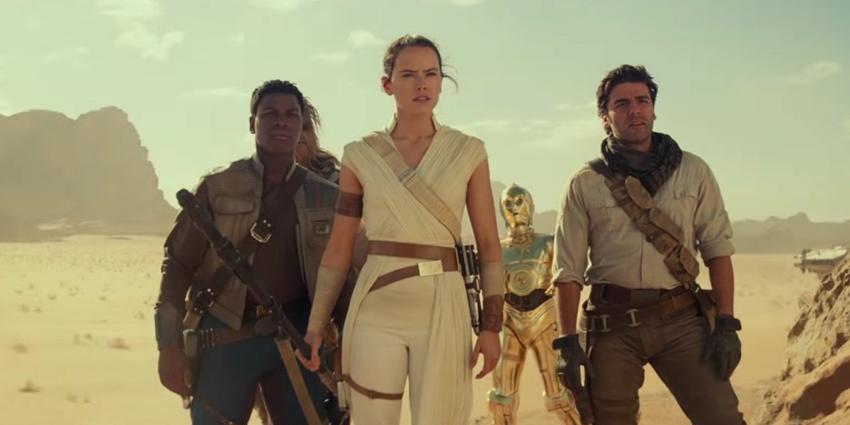 Rey, Finn and Poe in Star Wars: The Rise of Skywalker