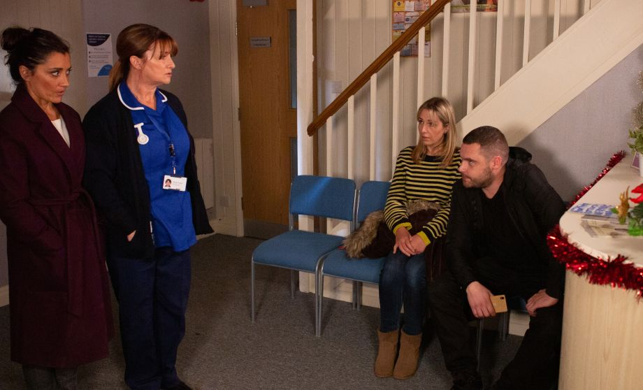 Wendy is rattled when Aaron Dingle turns up at the surgery in Emmerdale