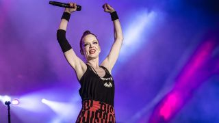 Shirley Manson from Garbage performs at Festival Solidays at Hippodrome de Longchamp on June 24, 2012 in Paris, France