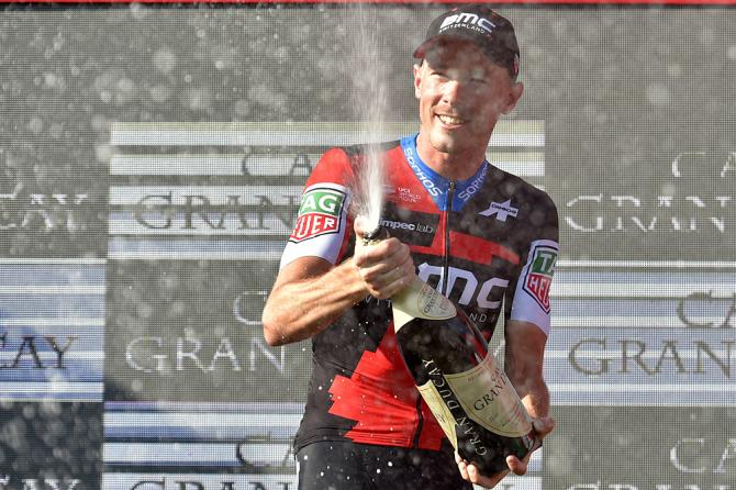 Rohan Dennis (BMC) celebrates his victory of stage 16 time trial at the Vuelta a Espana