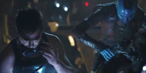Tony and Nebula working on the ship