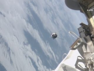 Russian Cargo Ship Approaches Space Station