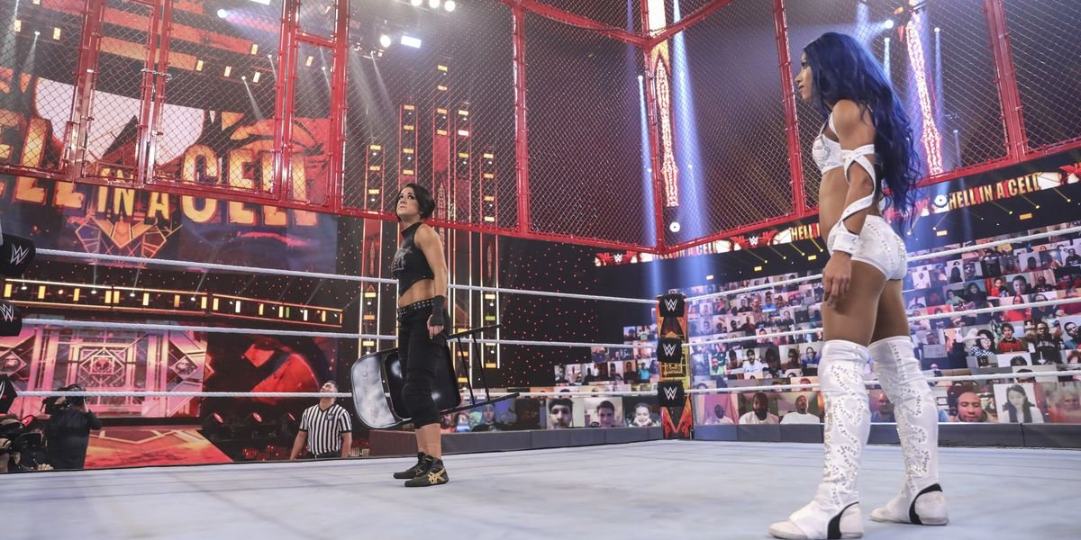 Bayley and Sasha Banks at Hell in a Cell 2020