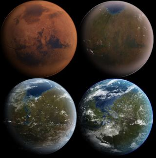 Artist's illustration showing the terraforming of Mars to a world not unlike ours.