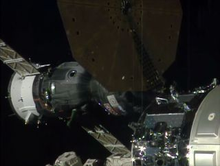 Soyuz Spacecraft Docks with Space Station