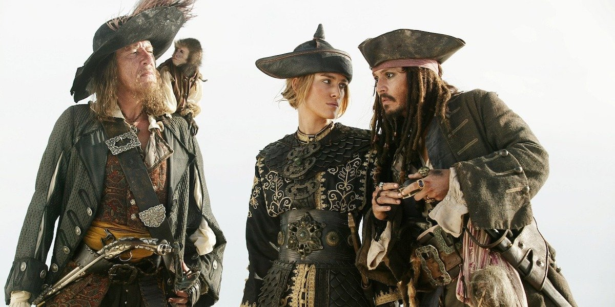 Captain Barbosa, Elizabeth Swann and Jack Sparrow in Pirates of the Caribbean: At World's End