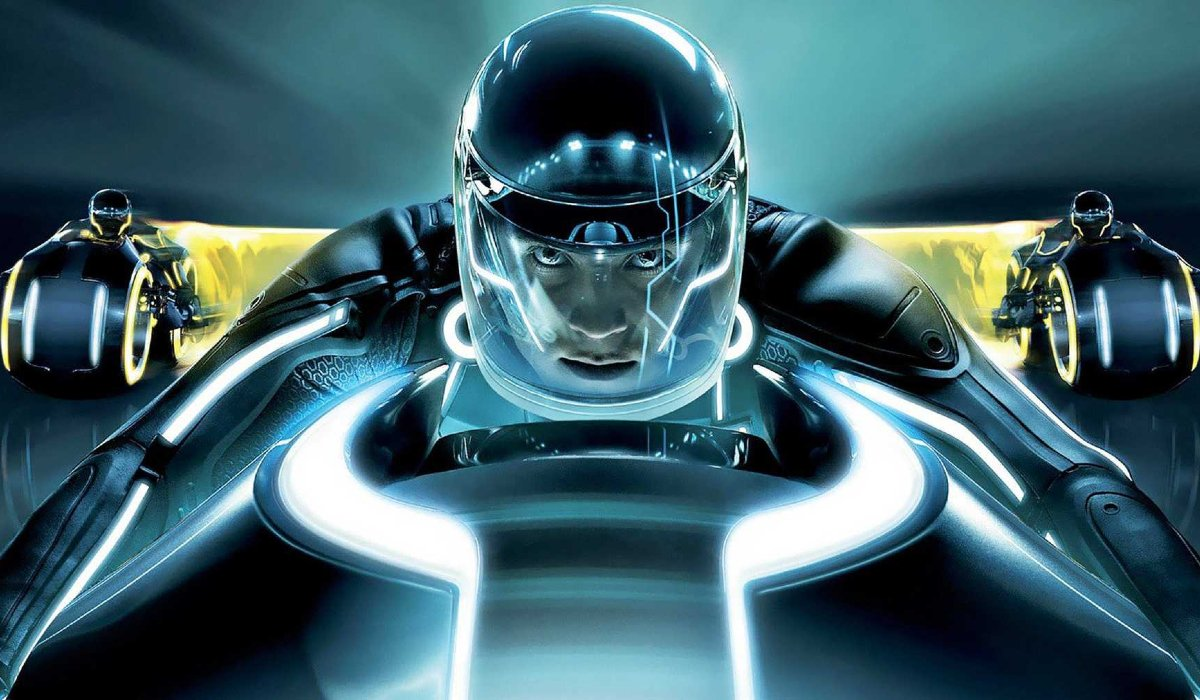 Tron Legacy Sam racing ahead of the competition on a light cycle