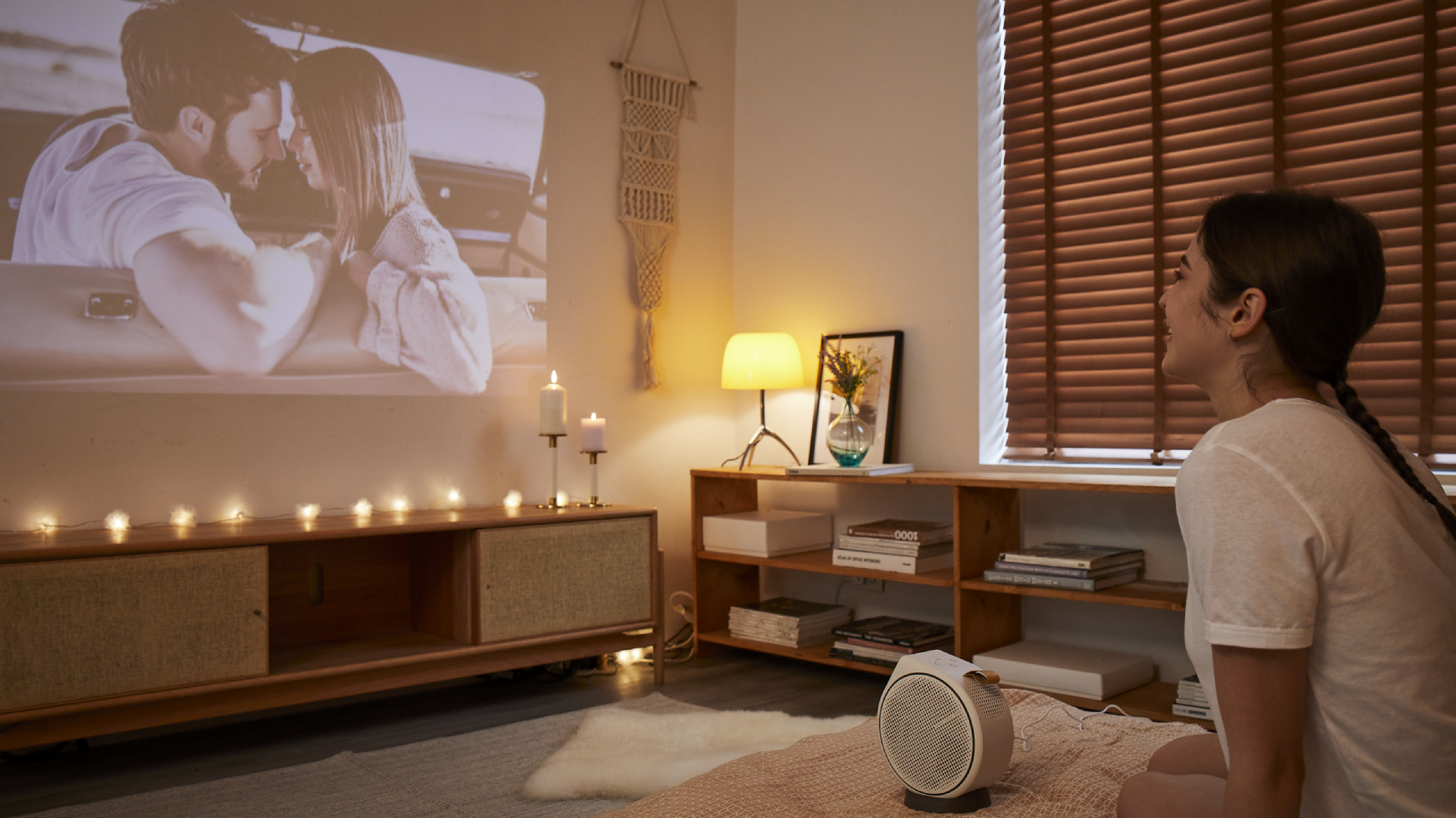 The BenQ GV30 being used in a home theater environment