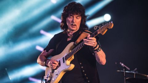 A photo of Ritchie Blackmore on stage with Rainbow in 2016