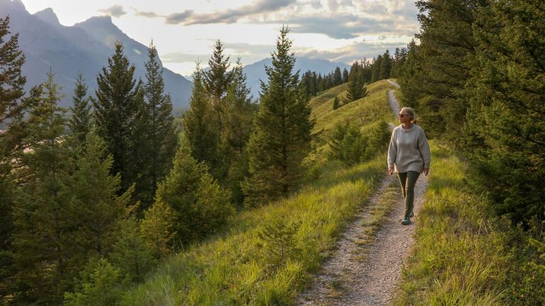how many miles is 10,000 steps: woman walking in the forest