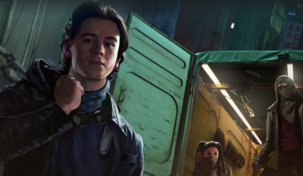 Alita: Battle Angel Hugo and his crew in the middle of a salvage operation