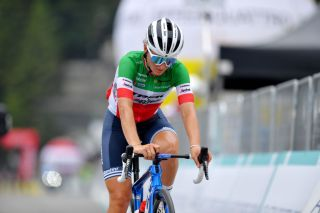 PRATO NEVOSO ITALY JULY 03 Elisa Longo Borghini of Italy and Team Trek Segafredo at arrival during the 32nd Giro dItalia Internazionale Femminile 2021 Stage 2 a 1001km stage from Boves to Prato Nevoso Colle del Prel 1607m GiroDonne UCIWWT on July 03 2021 in Prato Nevoso Italy Photo by Luc ClaessenGetty Images