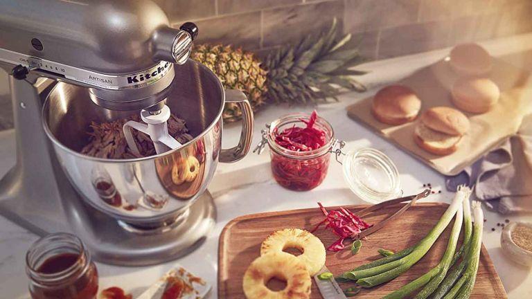 kitchen gadgets - KitchenAid KSM150PSCU Artisan Series 5-Qt. Stand Mixer on worktop with food