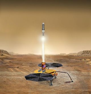 Artist's illustration of NASA's planned Mars Ascent Vehicle launching samples off the surface of the Red Planet.