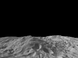 A giant mountain on the asteroid Vesta takes center stage in this image calculated from a shape model using data from NASA's Dawn probe. The image shows a tilted view of the topography of the south polar region, where the tall mountain (at center) rises 1