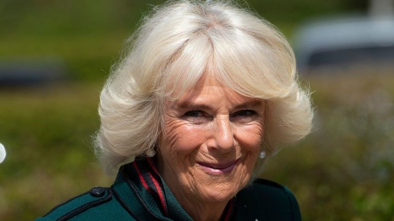 Duchess Camilla of Cornwall , Colonel-in-Chief of The Rifles, undertakes her first visit to 5th Battalion The Rifles, following her new appointment as Colonel-in-Chief on May 7, 2021 in Bulford, Wiltshire