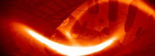Plasma inside a fusion reactor
