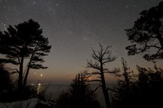 Venus and Jupiter over Lake Superior