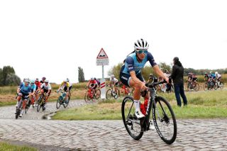 ROUBAIX FRANCE OCTOBER 02 Elisabeth DeignanArmitstead of United Kingdom and Team Trek Segafredo attacks in the breakaway and passing through cobblestones sector during the 1st ParisRoubaix 2021 Womens Elite a 1164km race from Denain to Roubaix ParisRoubaixFemmes ParisRoubaix on October 02 2021 in Roubaix France Photo by Bas CzerwinskiGetty Images
