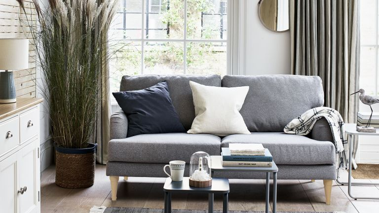 Grey sofa in a coastal inspired living room