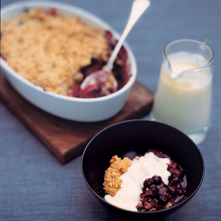 Apple and Dark Fruit Crumble with Vanilla Custard recipe-recipe ideas-new recipes-woman and home