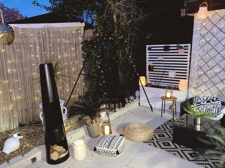 Becky Lane turned a crazy paved patio into a stylish sun trap for £100