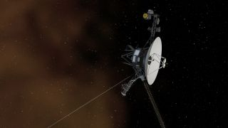 An artist's depiction of a Voyager probe entering interstellar space.